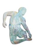 "Midair Figure no.1 50""x40"" acrylic on shaped MDF board $750"